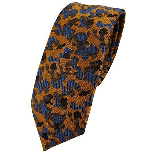 TigerTie schmale Krawatte in braun bronze blau schwarz Camouflage gemustert