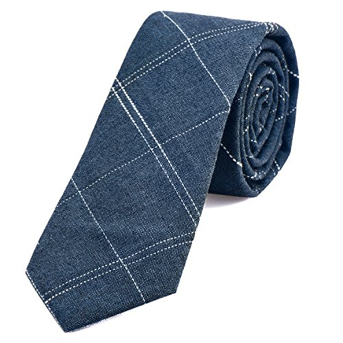 DonDon cravatta stretta a righe da uomo 6 cm cotone - jeans blu rigato
