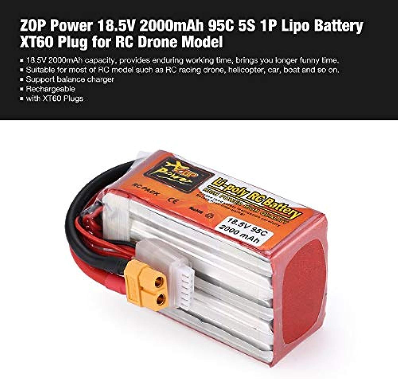 Yaoaomon ZOP Power 18.5V 2000mAh 95C 5S 1P Lipo Akku XT60 Stecker für RC Drone Model Red & Silver