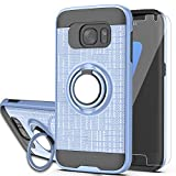 S7 Case,Galaxy S7 Phone Case with HD Screen Protector, YmhxcY 360 Degree Rotating Ring & Bracket Dual Layer Shock Bumper Cover for Galaxy S7 (2016)-ZH Metal Slate