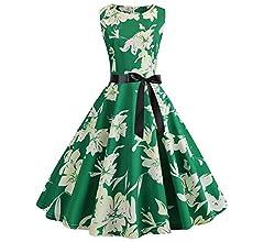 VJGOAL Mujer Verano Moda Casual Flores impresión Vintage 1950 s ...