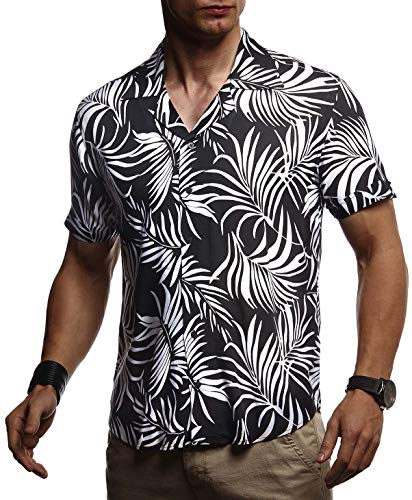 Leif Nelson Herren Hemd Kurzarm Oversize Kentkragen Stylisches Männer Hawaiihemd Stretch Kurzarmhemd Jungen Basic Shirt Freizeit Urlaub Sommerhemd LN3655 Schwarz Large