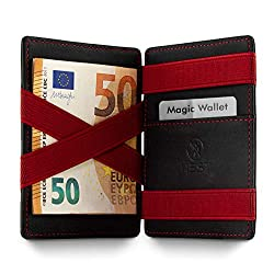 WEST - Magic Wallet (Schwarz-Rot) - Das ORIGINAL (kleines Münzfach) - inklusive Edler Geschenkbox - Geldbeutel mit Münzfach - Der perfekte Begleiter für unterwegs - RFID Datenschutz