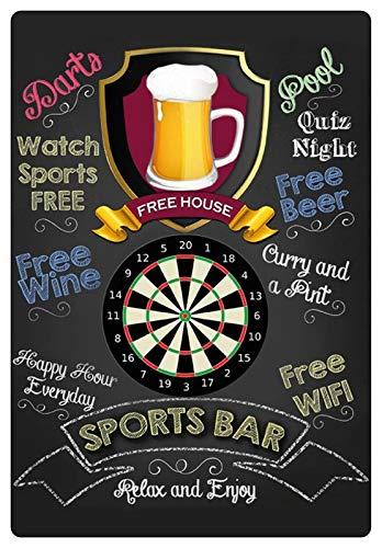 Blechschild 20x30cm gewölbt Sports Bar Darts Pub Kneipe Bar Deko Geschenk Schild