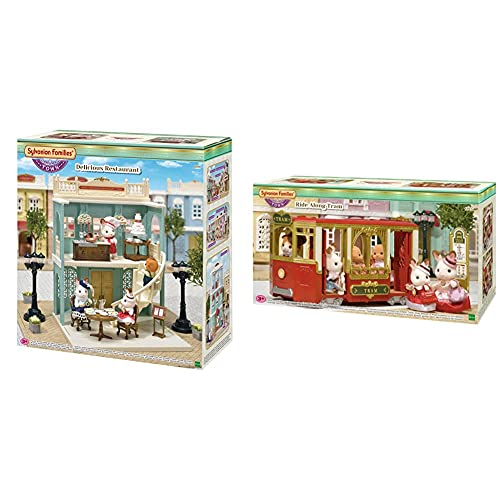 SYLVANIAN FAMILIES 6018 Delicious Restaurant + Ride Along Tram Mini Muñecas Y Accesorios, Multicolor (Epoch para Imaginar) , Color/Modelo Surtido