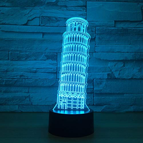 ASF15 Creative Home Decor 3D Leaning Tower with USB Power of Pisa Shapes Nightlight Building Desk Lamp 7 Colors Changing Kids Light Fixture Giftsnight Light Gradient Closet (Size : 16-color remote)