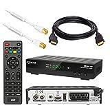 Kabel Receiver DVB-C Set von HB DIGITAL: Comag DKR60 HD DVB-C Receiver für Kabelfernsehen + HDMI Kabel + 1m Antennenkabel mit Mantelstromfilter weiß (Full HD HDTV HDMI SCART USB)