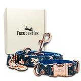 Freudentier® Hundehalsband & Hundeleine (2m) im Set - Wundervolles Design & Unempfindliches Nylon -...