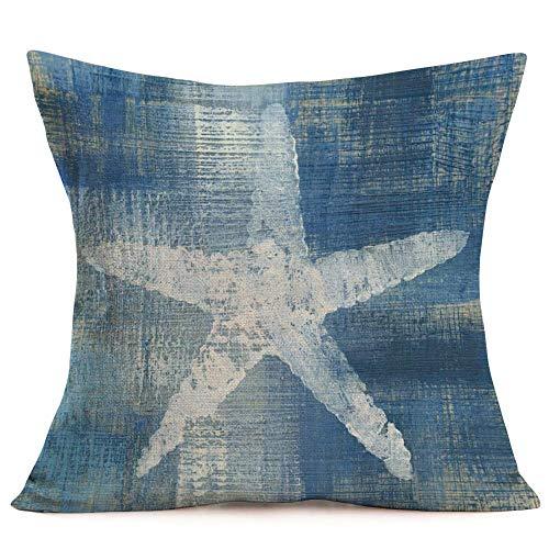 375 Fundas de almohada de algodón y lino, diseño de estrella de mar azul, funda de almohada estándar, 45,7 x 45,7 cm (estrella de mar azul)