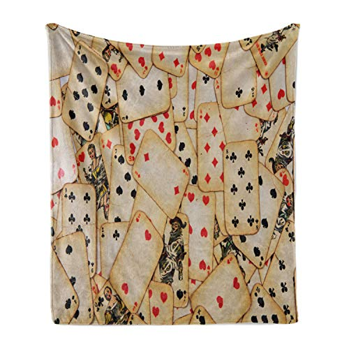 "Ambesonne Casino Soft Flannel Fleece Throw Blanket, Old Playing Cards Themed Vintage Classic Style Entertaining Wealth Fortune, Cozy Plush for Indoor and Outdoor Use, 50"" x 70"", Beige Red Black"