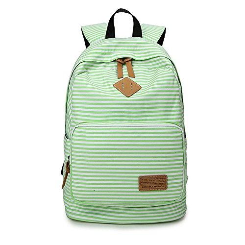 Minetom Tela Tejida Lona Backpack Mochilas Escolares Mochila Escolar Casual Bolsa Viaje Moda Mujer Colorido Rayas Verde One Size(29 * 17 * 45 Cm)