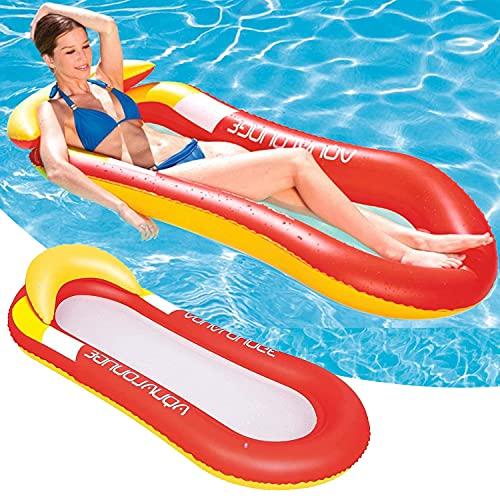 Faffooz Colchoneta Piscina Tumbona, Hamaca Flotante, Pool Colchón Hinchable, Flotador Piscina Playa Cama de Agua Flotador de...