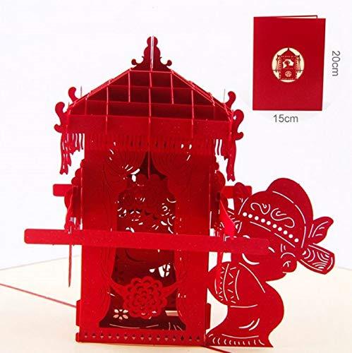 BC Worldwide Ltd handgemachte 3D-Pop-up Hochzeitskarte Doppelglück Chinesische Bräutigam Braut orientalischen großen Tag viel Glück Braut Limousine Valentines Jubiläum