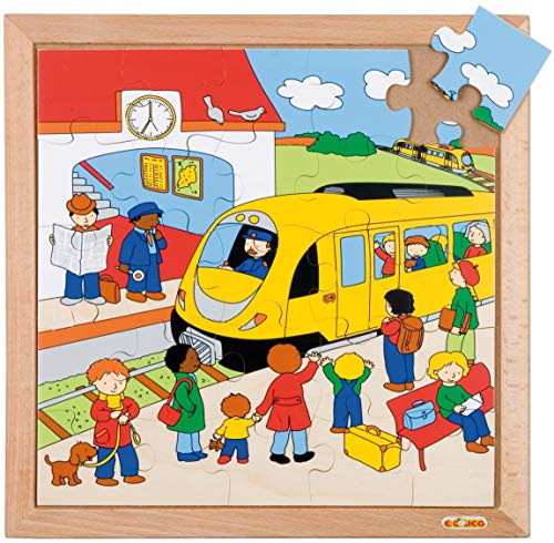 Educo | Transport Puzzle - Bahnhof | Lehrmaterialien Geschichte | Puzzle - Spielen und lösen - Holz Puzzles | Ab 84 Monate | Bis 144 Monate