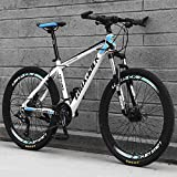 Shlia Mountain Bikes 262.125 Inch Universal Tire Men Adults High-Carbon Steel Lightweight Road Bike Bicycle 21 Speed Shock-Absorbing, Mens/Womens Fashionable Advanced Suspension Bikes (White-Blue)