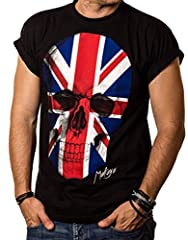 MAKAYA Camiseta con Bander Inglesa - Union Jack Craneo