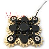 Hand Spinner Fidget Gyro Toy Brass Gears Linkage Design EDC Focus Meditation Break Bad Habits ADHD Spinner Fidget Spin Toy with Bearing (Black 9 Gears)