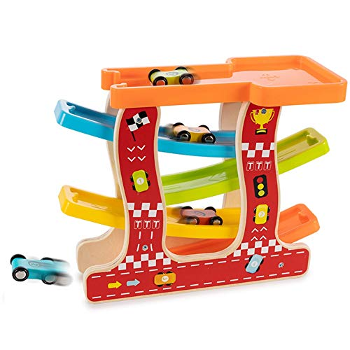 Yifuty Gliding Car Toy, 4 Voitures, Course Draisine première et deuxième année de maternelle Garçons et Filles Jeux, Early Education Lumières, avec des chiffres
