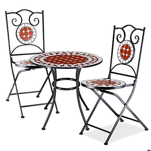 BAKAJI Set Tavolo Tavolino 60 x 70 cm + 2 Sedie Pieghevoli con Decorazione Mosaico Arredo Esterno Giardino Terrazzo Struttura in Metallo Colore Nero Decoro in Terracotta Bianco e Rosso
