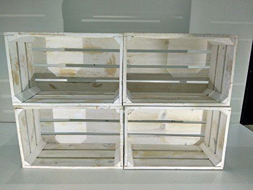 Set 4 Cajas Madera Blanco Vintage Tipo Fruta