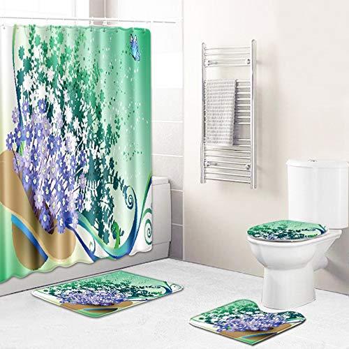 WEIFENG Außenhandel Fantasie Blumen Bad WC vierteilige Set Wohnzimmer Boden Schlafzimmer Teppich Fußmatte 11 45 * 75 cm + 180 * 180 cm