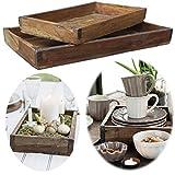 LS-LebenStil Holz Unika Aufbewahrung-Box Set 2-Fach Braun Servier-Tablett Ziegelform