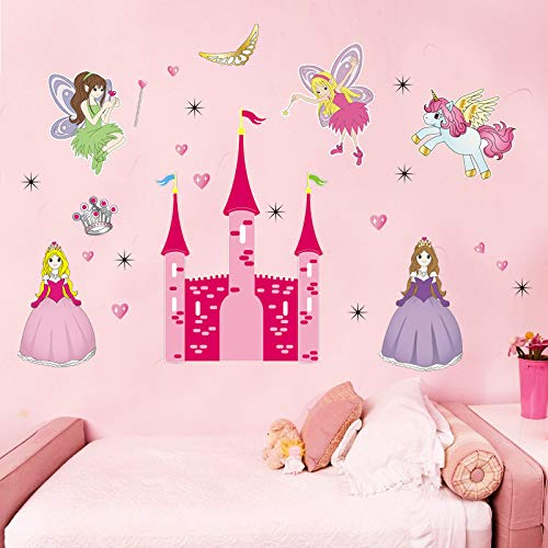 GVC Princess Castle Fairy Angels Wall Stickers for Kids Nursery Room Decoration Cartoon Home Girls Gift