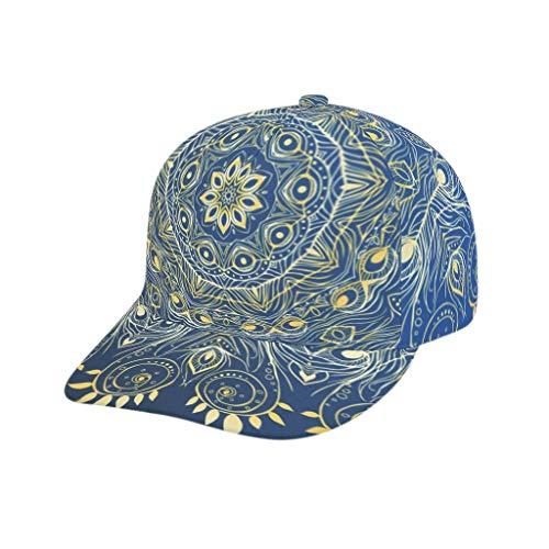 XJJ88 tieners middernacht blauw gouden mandala honkbal caps stijlvol - verstelbare Snapback hoed