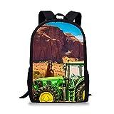 impresión Gran Tractor agrícola, Caballo marrón, Mochila Escolar de montaña,Mochila Escolar Primaria, Mochila Escolar Secundaria, Mochila Juvenil