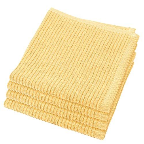 Now Designs Ripple Kitchen Dishcloth, Set of 4, Lemon Yellow