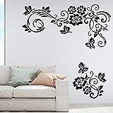 Flores Mariposas Etiqueta de La Pared Ornamento Floral Bloom Wallpaper Vinilo Decal Mural hogar Sala de Estar Dormitorio decoración Etiqueta