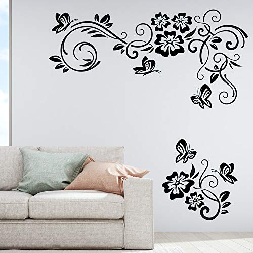 Flores Mariposas Etiqueta de La Pared Ornamento Floral Bloom Wallpaper Vinilo Decal Mural hogar Sala de Estar Dormitorio decoración Etiqueta
