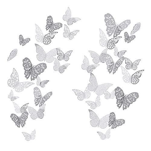 YUE QIN 36 pcs Pegatina de pared 3D mural de Arte Artesania bricolaje pegatinas decoracion de mariposa Calcomanías para el Hogar Murales de Papel Decorativo (Estilo Plata)