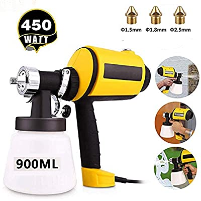 omdox Paint Sprayer High Power HVLP Home Electric Spray Gun 3 Spray Patterns, 3 Nozzle Sizes, Adjustable Valve Knob, 900ML Detachable Container,6.5ft Power Line