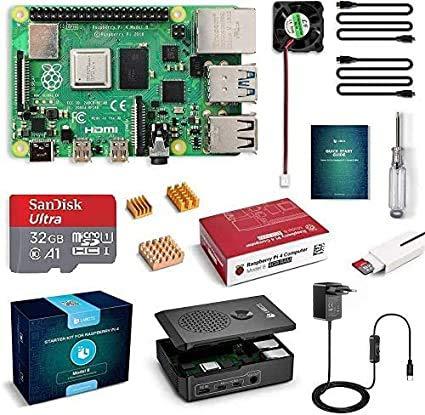 LABISTS Raspberry Pi 4 Modèle B (4 B) 4Go RAM Starter Kit avec 32 Go Classe 10 Micro SD Carte, 5,1V 3A Alimentation Interrupteur On/Off, Ventilateur, 2 Câble Micro HDMI, Boîtier Noir, 3 Dissipateur
