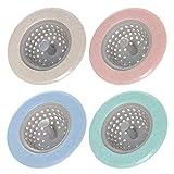 Amaoma 4 Piezas Fregadero Filtro Anti-Obstrucción Filtro Colador de Fregadero Filtro de Silicona para Fregadero de Cocina Filtro Colador para Fregadero y Bañera (Rosa, Verde, Azul, Beige)