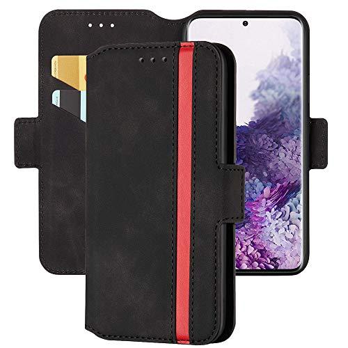 Capa carteira XYX para Samsung Galaxy Note 10 Plus/Note 10 Plus 5G, capa carteira de couro PU com costura fosca retrô com design flip com suporte e compartimento para cartão de crédito para identidade, fecho magnético, preto