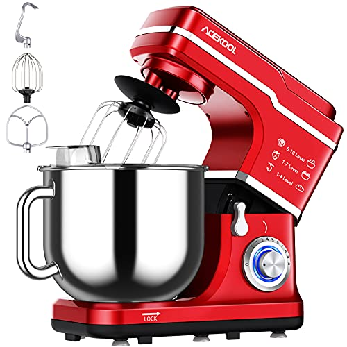 Stand Mixer, 7.5QT 660W Electric Dough Mixer, Kitchen 10-Speed Tilt-Head Food Mixer for Baking&Cake, with Stainless Steel Bowl, Whisk, Dough Hook, Beater, Splash Guard(RED) MC1