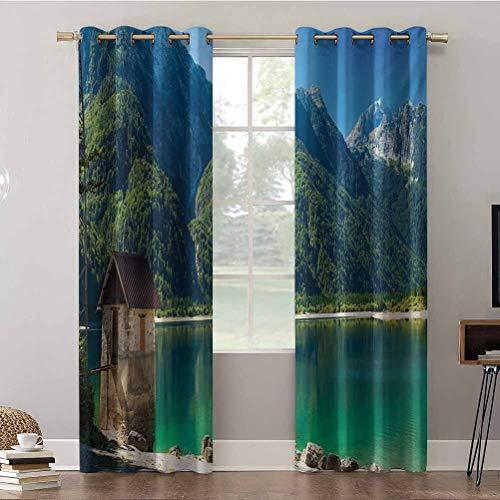 Cortinas opacas, 42 x 63 x paneles de cortina con ojales térmicos, Predil Alpine Lake Norte Italia Eslovenia Frontera Alpes Julianos, Cortinas de oscurecimiento de habitación (2 paneles)