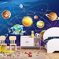 壁画壁紙3D漫画惑星ソーラーシステム写真壁紙キッズルーム寝室壁画リビングルーム壁紙 300cmx210cm