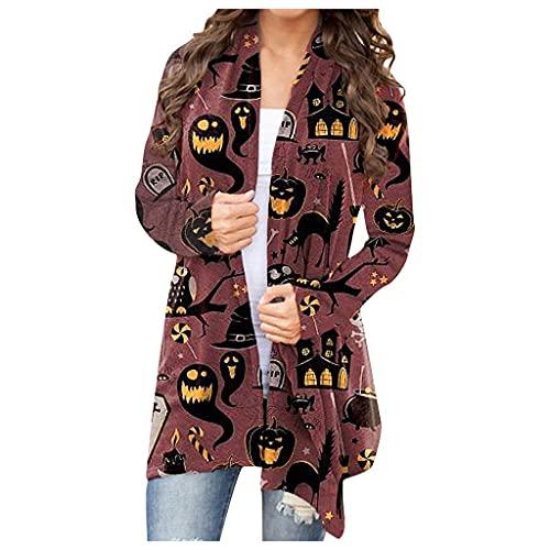 Blingko Damen Langarmshirt Lang Strickjacke Langarm Mantel Casual Lose Sweatshirt mit Halloween Print Jackenoberteil Leicht Atmungsaktiv Hemd Tops Oversize Halloween Kostüm