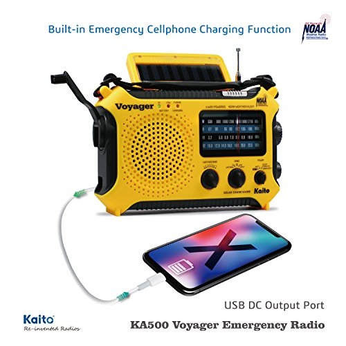 Product Image 2: Kaito KA500 5-way Powered Solar Power,Dynamo Crank, Wind Up Emergency AM/FM/SW/NOAA Weather Alert Radio with Flashlight,Reading Lamp and Cellphone Charger, Yellow
