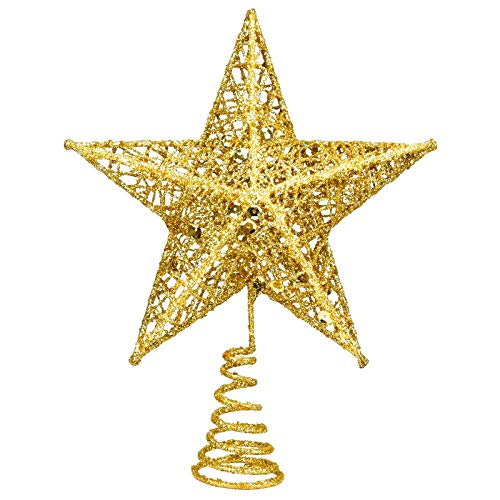 """EAONE 8"""" Metal Christmas Tree Topper Gold Christmas Decoration Glittered Tree-top Star Hollow Wire Glitter Home Decor Christmas Tree Decoration for Party Home Decoration Star Ornament"""
