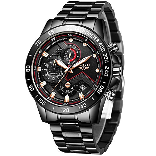 LIGE Relojes Hombre Militare Deportivos Impermeable Acero Inoxidable Analógico Cuarzo Relojes de Pulsera para Hombre Negro