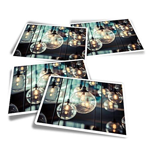 Pegatinas rectangulares de vinilo (juego de 4) – Bombillas retro Edison Bombillas Interiores Divertidos Pegatinas para Portátiles, Tabletas, Equipaje, Reserva de chatarra, Frigoríficos #16155
