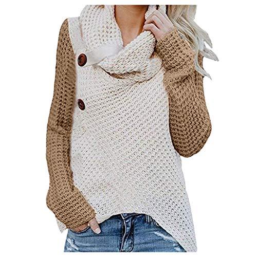 yazidan Damen Winterjacke Warm Strickjacke Rollkragen Cardigan Strickpullover Casual Wrap Wickel Pullover Sweater