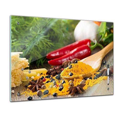Bilderdepot24 Memoboard - 80 x 60 cm, Essen und Trinken - Pfeffer und Kurkuma - Memotafel Pinnwand - Gewürz - Pfefferkorn - Pulver - Indisches Gewürz - Indien - Küchengewürz - gelb - Kochen - Gericht