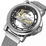Excellent Reloj mecánico Totalmente automático para Hombres con Correa de Acero Inoxidable Moda de Hombre Reloj Casual Tourbillon Impermeable