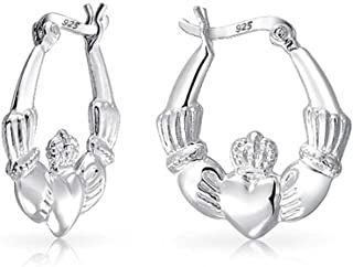 Bff Love Celtic Irish Friendship Claddagh Hoop Earrings For Women For Teen 925 Sterling Silver .75 Dia
