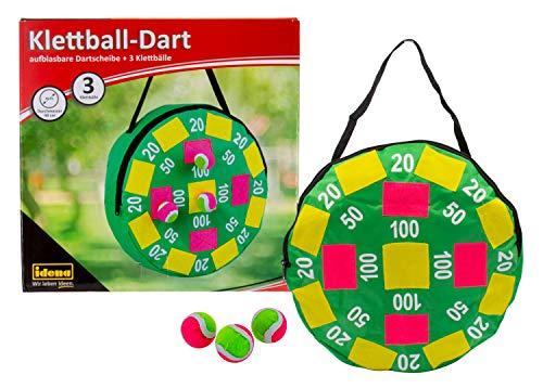 Idena 40127 Dartspiel mit aufblasbarer Dartscheibe aus Stoff und 3 Klettbällen, Durchmesser ca. 40 cm, ideal für drinnen, draußen, im Urlaub und unterwegs, bunt